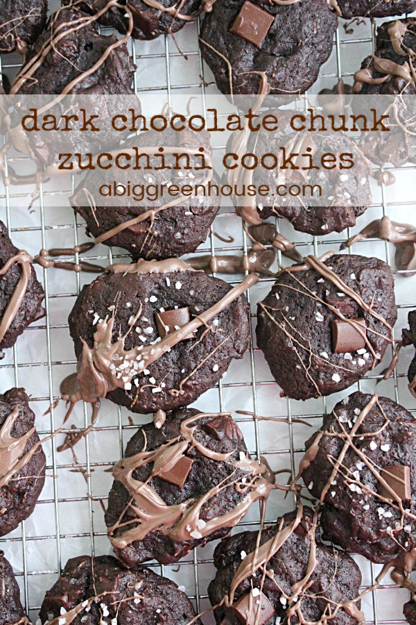 Dark Chocolate Chunk Zucchini Cookies | Big Green House #zucchini #cookie #darkchocolate #dessert