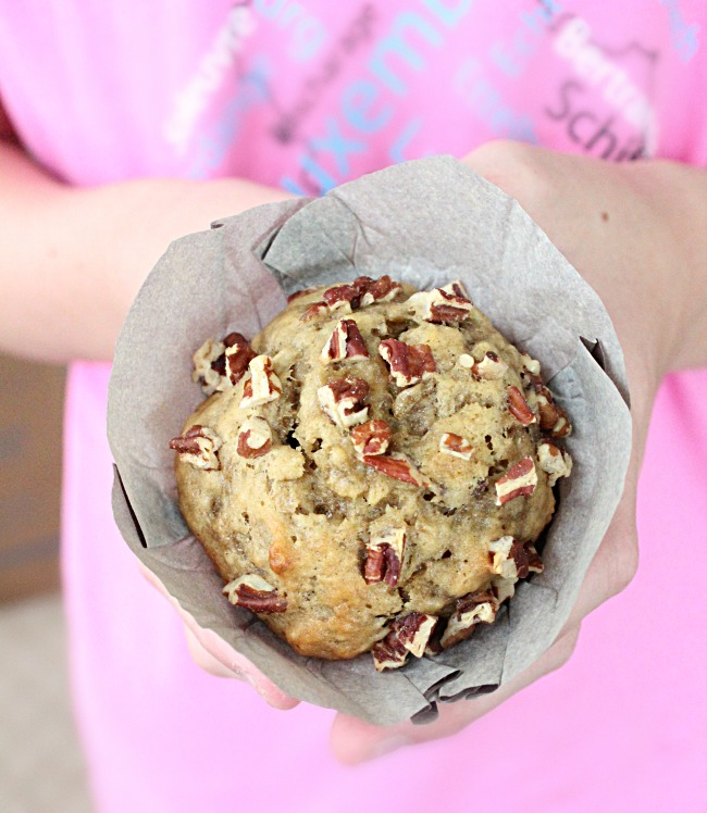 Banana Pecan Muffins: Big Green House #banana #pecan #muffins