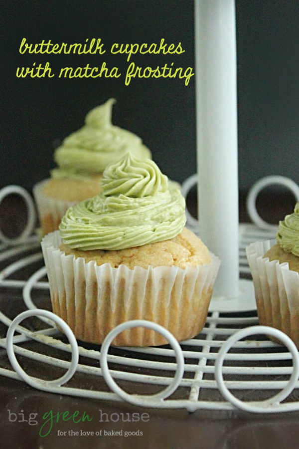 Buttermilk Cupcakes with Matcha Frosting   Big Green House #cupcakes #matcha #frosting #buttermilk #dessert