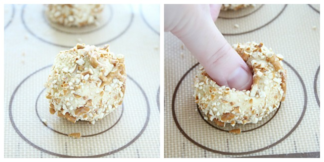 Salted Caramel Pretzel Thumbprint Cookies - Big Green House #pretzel #saltedcaramel #cookies #salt #caramel