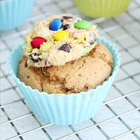 Peanut Butter Cupcakes with Monster Cookie Dough Topping- Big Green House #peanutbutter #cupcakes #dessert #monstercookie