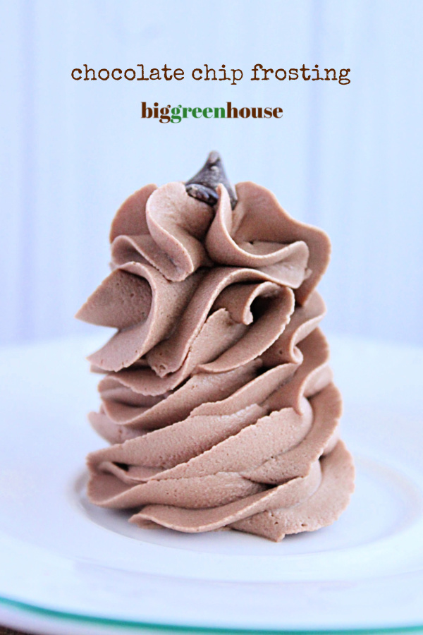 Chocolate Chip Frosting-Big Green House #biggreenhouseblog #chocolatechipfrosting #frosting #chocolate #chocolatefrosting