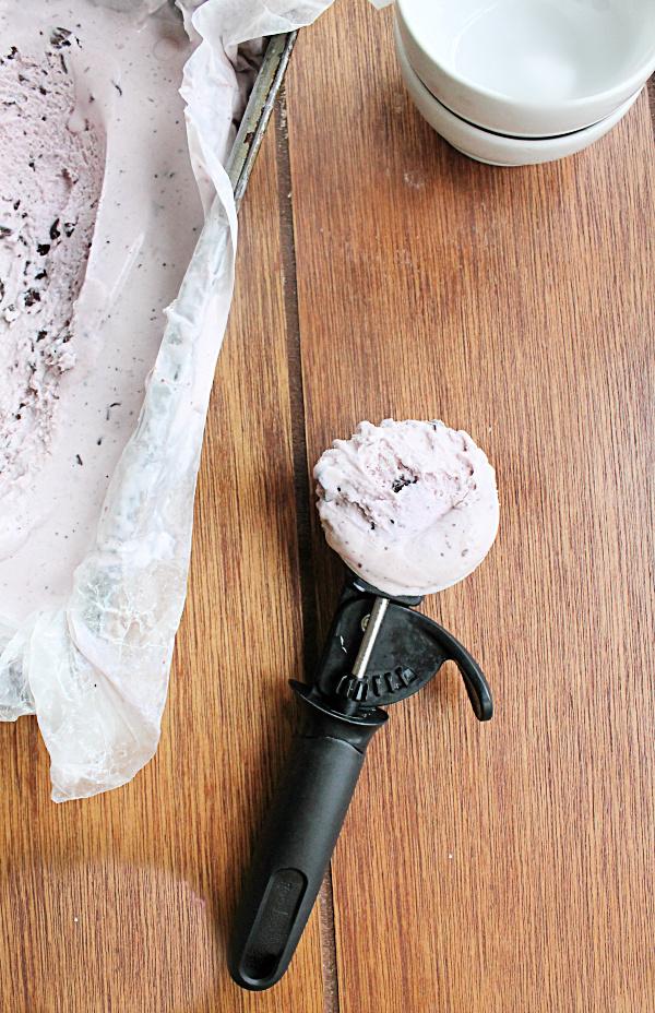 No Churn Blackberry Dark Chocolate Chip Ice Cream