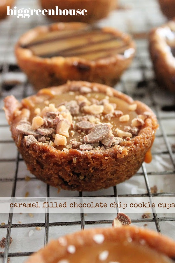 Caramel Fill Chocolate Chip Cookie Cups- Big Green House